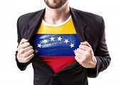 pic of civil war flags  - Businessman stretching suit with Venezuela flag on white background - JPG