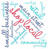 stock photo of local shop  - Shop local word cloud on a white background - JPG