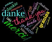 stock photo of thankful  - Heart shaped Thank You international word cloud on a black background - JPG