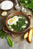 stock photo of sorrel  - Soup of sorrel and nettles on the table - JPG