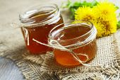 image of jar jelly  - Jelly of dandelions in a glass jar on the table - JPG
