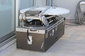foto of collapse  - Portable Collapsible Mobile Satellite Dish with Microwave Television Broadcast Link - JPG