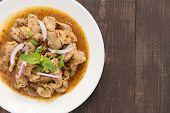 pic of thai food  - Thai food name is Grilled pork with spicy salad Thai food - JPG