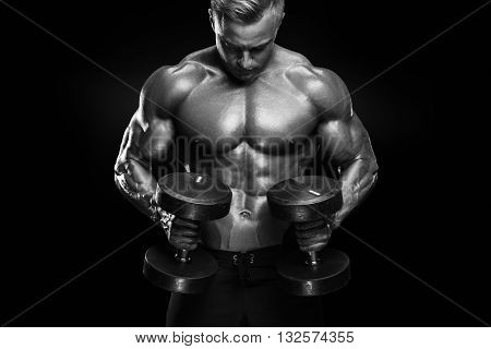 poster of Handsome Athletic Guy Workout With Dumbbells