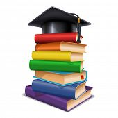Black graduation cap on stack of books. Isolated on white background. Graduation concept. Back to sc poster