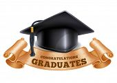 Black graduation cap with vintage ribbon. Isolated on white background. Congratulation Graduates ins poster