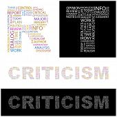 CRITICISM. Word collage. Illustration with different association terms.