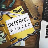 Постер, плакат: Interns Wanted Internship Training Trainee Concept