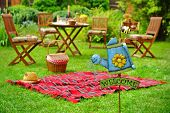 Постер, плакат: Close up Of Sign Welcome And Backyard Party Or Picnic Scene