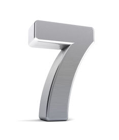image of number 7  - The number seven as a brushed chrome object over white - JPG