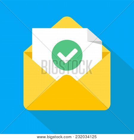 poster of Envelope With Document And Round Green Check Mark Icon. Successful E-mail Delivery, Email Delivery C