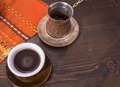Coffee. Turkish Coffee Being Made In A Traditional Way. Armenian Turkish Coffee. The Copper Coffee P poster
