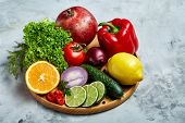Colorful Still Life Of Fresh Organic Fruits And Vegetables On Wooden Plate Over White Background, Se poster