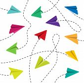 Paper Airplanes. Colorful Paper Airplanes. Paper Airplanes With Dashed Lines. Paper Airplanes With D poster