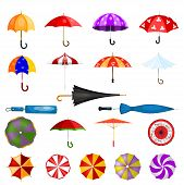 Umbrella Vector Umbrella-shaped Rainy Protection Open Or Closed And Parasol Illustration Set Of Prot poster