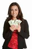 image of holding money  - Beautiful young white businesswoman holding eighty dollars - JPG