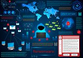 Infographic Abstract Technology Concept Information Of Ransomware On Hi Tech Background poster