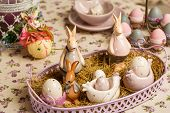 Beautiful Easter Pastel Decorations With Table Setting. Porcelain Rabbits And Easter Eggs. Easter Co poster