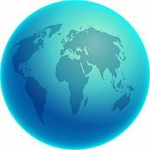 pic of world-globe  - Blue globe showing the whole world - JPG