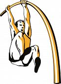 picture of pole-vault  - Vector art of an Athlete doing the pole vault - JPG