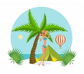 Tropical Summer Rest. Beautiful Girl In Bikini, Resting On Tropical Island, An Exotic Beach, Near Th poster