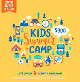 Kids Summer Camp Concept With Handdrawn Lettering, Camping And Travelling On Holiday With A Lot Of C poster