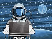 Hooded Hacker Astronaut Behind A Laptop In Pop Art Style. Cosmonaut On Mars Planet Surface. Vector I poster