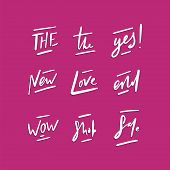 Handdrawn Short Vector Words. Lettering Short Vector Phrases - Yes, Wow, Sale, Shop, And Love poster