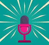 Vintage Vector Illustration Of Retro Pink Microphone And Loud Sound. Microphone On Vintage Halftone  poster