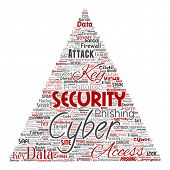 Conceptual cyber security online access technology triangle arrow word cloud isolated background. Co poster