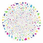 Multi Colored Christian Religion Bang Globula. Vector Sphere Burst Created From Random Christian Rel poster
