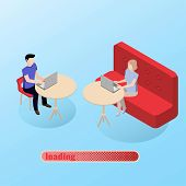 Guy And A Girl Get Acquainted On The Site Chatting In The Chat. Online Dating poster
