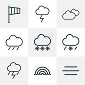 Climate Icons Line Style Set With Lightning, Cloudy Sky, Arc And Other Lightning Elements. Isolated  poster