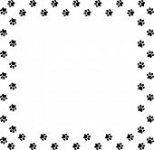 Square Frame Made Of Black Animal Paw Prints On White Background. Vector Illustration, Template, Bor poster