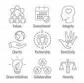 Social Responsibility Outline Icon Set With Honesty, Integrity, & Collaboration, Etc poster