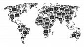 Global Map Mosaic Organized Of Case Pictograms. Vector Case Design Elements Are United Into Mosaic G poster
