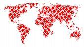 International Map Mosaic Done Of Diamonds Suit Design Elements. Vector Diamonds Suit Items Are Organ poster