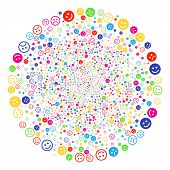 Colorful Glad And Sad Smiley Burst Cluster. Vector Round Cluster Salute Done From Scattered Glad And poster
