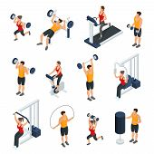 Isometric People In Gym Collection With Men And Women Doing Different Physical Exercises Isolated Ve poster