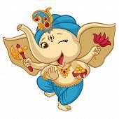 Ganesha Elephant Cartoon Vector Illustration For Traditional Hindu Festival. Isolated Happy Baby Gan poster