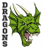 An Illustration Of A Cartoon Dragon Sports Team Mascot With The Text Dragons poster