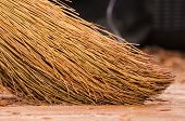 A Broom Stands On A Wooden Floor. Parquet Board. New Floor. Sweeping The Floor. Broom poster