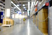 Blurred A Large Warehouse With Stocking Products On The Shelf And Walkway,bokeh Light Bulbs On The R poster