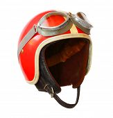 Retro helmet with goggles on a white background. Protective headwear for motorcycle and automobile r poster