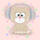 Good Cute Cat Listening To Music. Greeting Card.  Illustration Done In Cartoon Style. poster