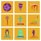 Assembly Of Flat Icons Halloween Zombie Hand Grave Full Moon Zombie Hand Grave Plot Shovel poster