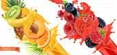 Fruit Burst. Splash Of Juice. Sweet Tropical Fruits And Mixed Forest Berries. 3d Realistic Vector Ic poster