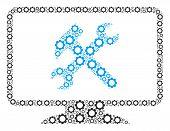 Desktop Settings Mosaic Of Gearwheels. Vector Cog Wheel Parts Are Organized Into Desktop Settings Sh poster