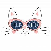Hand Drawn Portrait Of A Cute Cartoon Funny Cat In Sunglasses With Snowflakes Reflection, Text Hello poster