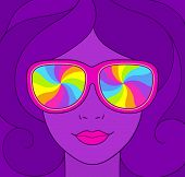 Psychedelic Style Portrait Of Pretty Girl In Sunglasses With Rainbow Swirls. Groovy Neon Colors Vint poster
